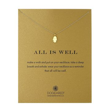 dogeared all is well hamsa necklace, gold dipped