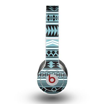 The Vector Blue & Black Aztec Pattern V2 Skin for the Beats by Dre Original Solo-Solo HD Headphones