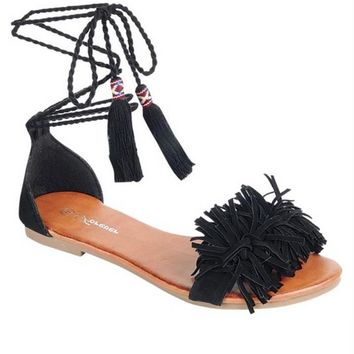 Black Lace Up Fringe Sandal