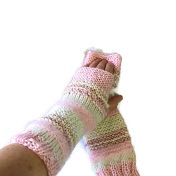 Pink Fingerless Gloves, Texting Gloves, Arm Warmers, Fashion Accessory, Gift For Her, Fiber Art, Hand Warmers, Knit Gloves