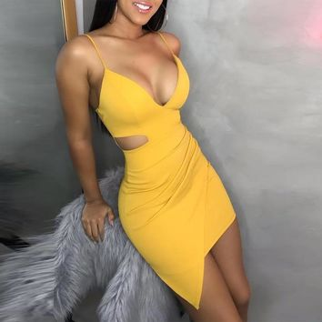 Front cut out yellow dress women spaghetti strap dresses summer Sexy night club party dress Bodycon beach vestidos mujer