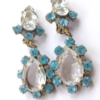 Czech Aqua Statement Earrings Bridal Retro Mad Men Catwalk Fashion Jewelry