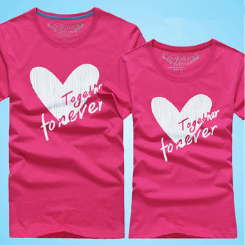10 color Couples Men & Women Heart LOVE t-shirts Printing Cotton Lovers t shirt,together forever tshirts 0031