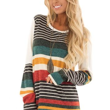 Multi Color Striped Sweater with Long Color Block Sleeves