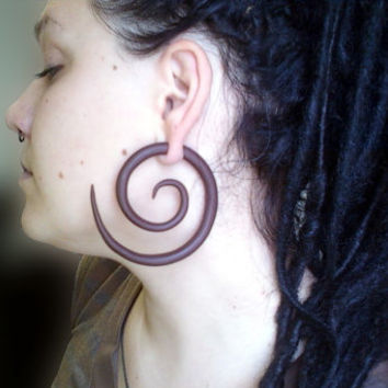 "Large Spiral Earrings For Stretched Lobes - Fake, 4g, 2g, 0g, 00g, 7/16"", 1/2"", 9/16"", 5/8"", 11/16"",  3/4"" - Gauges - Gauged Earrings"