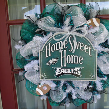 Philadelphia Eagles Midnight Green ,Black And White Deco Mesh Door Wreath