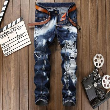 Men Print Baggy Jeans Fashion Jeans [1563338834013]