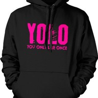 YOLO, Neon Pink Design, You Only Live Once Mens Sweatshirt, Hot Trendy Lyrics Design YOLO, Y.O.L.O Pullover Hoodie, X-Large, Black