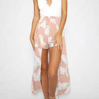 White Contrast Lace Details Cross Back Playsuit