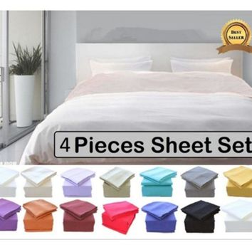 Luxury Soft Brushed Microfiber Bed Sheet Set Deep Pocket - Queen - Gray
