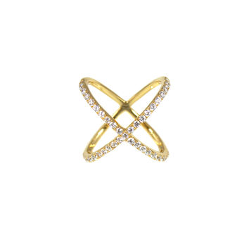 Pave X Out Ring