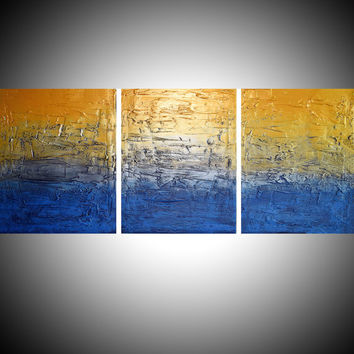 triptych 3 panel canvas wall art silver gold metallic metal paintings on canvas impasto schilderijen painting sculpture 48 x 20""