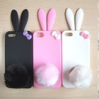 Cute Bunny with Bow Soft Silicone Iphone 5 Case Skin- 3 color to choose--Pink, black, white