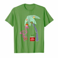 Feliz Navidad pink Christmas Flamingo Palm Tree T-Shirt
