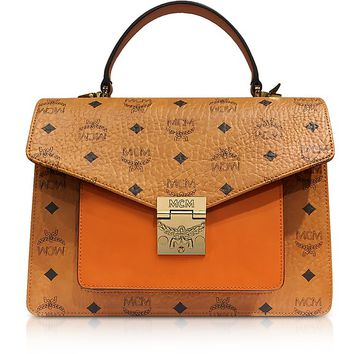 MCM Cognac Patricia Visetos Medium Satchel Bag