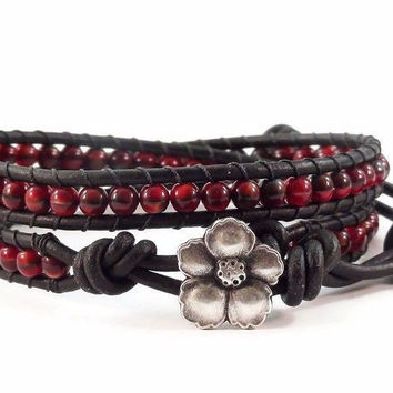 Leather Wrap Bracelet Red and Black Hibiscus Flower Clasp