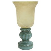 "13"" Turquoise Uplight with Glass Shade 