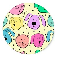 Cute Colorful Pet Pattern Classic Round Sticker