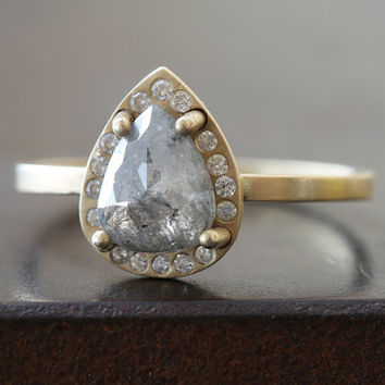 One of a Kind Grey Diamond Ring with Pave Halo