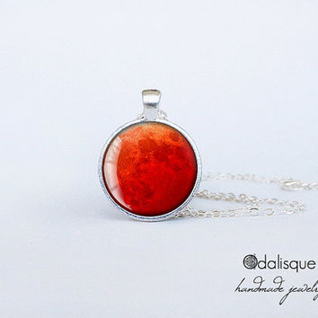 Blood Moon Pendant Handmade Red Moon Necklace Astronomy Outer Space Jewelry Gift Silver