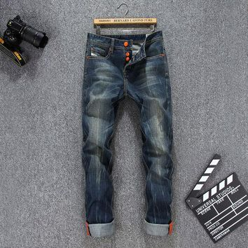 DCCKJG2 New 2016 Men's fashion wolf print stretch denim jeans Slim black painted straight pants Long trousers