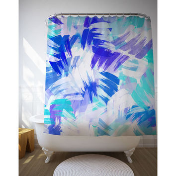 Blue Abstract Shower Curtain, Graphic Art Bathroom Decor, Home Decoration, Bath Accessories