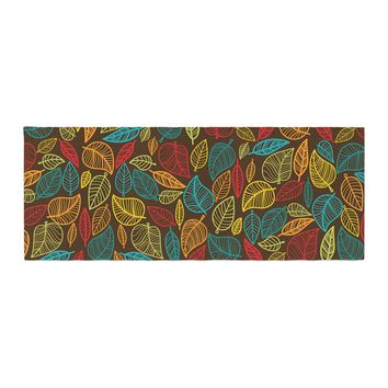 "KESS Original ""Leaves All Around"" Multicolor Brown Bed Runner - Outlet Item"