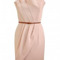 Pink Cocktail Dress - Front pleated pink dress | UsTrendy