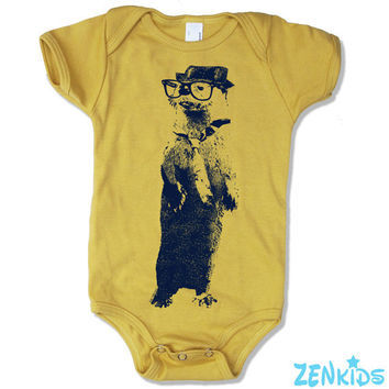 Baby Onesuit OTTER (in a Fedora) -  american apparel - Organic (3 Color Options)  - FREE Shipping