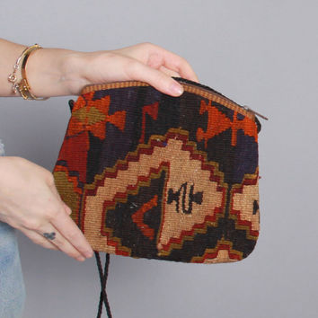 80s Turkish KILIM BAG / 1980s Boho Ethnic Woven Wool Crossbody PURSE