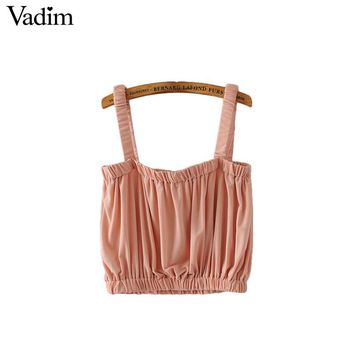 Vadim women sweet summer crop tops pleated spaghetti straps cute sleeveless chic short shirts elastic blouse casual tops WT469