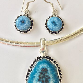 Blue Druzy sterling silver pendant and earrings set