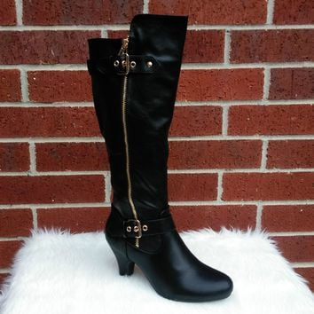 Women's Black Tall Boot with Zipper and Buckle Detail
