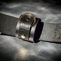 Leather Bondage Cuffs - Black Latigo - Brass Rings with Ivy Motif - Ebony & Brass Fasteners