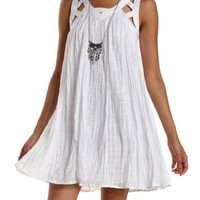 White Caged & Embroidered Trapeze Dress by Charlotte Russe