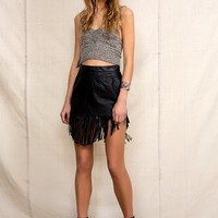Urban Renewal Leather Fringe Skirt - Urban Outfitters