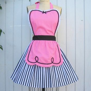 retro apron pink apron 50s DINER WAITRESS ...... ice cream parlor hostess bridal shower gift vintage inspired womens flirty full