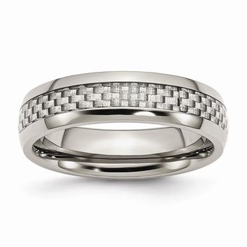 Men's Stainless Steel and Grey Carbon Fiber 6mm Polished Wedding Band Ring