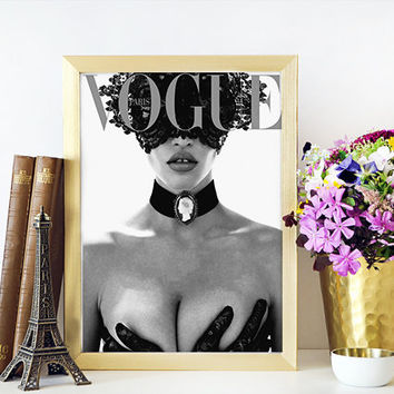 VOGUE PRINT Feminin Fashion Art Vintage Vogue Cover Vogue Magazine Vintage Fashion Illustration Vogue Poster Fashion Wall Art
