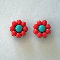 colorful bubble post earrings, coral and turquoise beaded