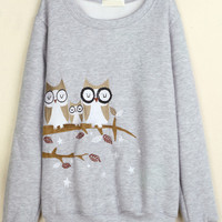 Grey Owl Embroidered Long Sleeve Sweatshirt