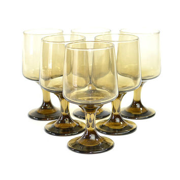 Gold Smoke Glass Water / Wine Goblets (Set of 6) - Libbey Rock Sharpe, Tawny - Elegant Serving Stemware for Dinner Party or Wedding Decor