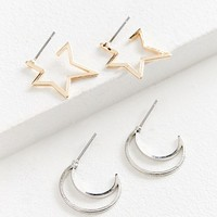 Moon + Stars Mini Hoop Earring Set | Urban Outfitters