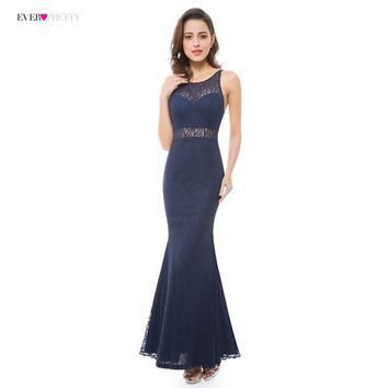 Navy Blue Evening Dresses Ever Pretty EP07033NB  Lace Sexy Illusion Floor Length Backless Evening Gown Vestido Long for Women