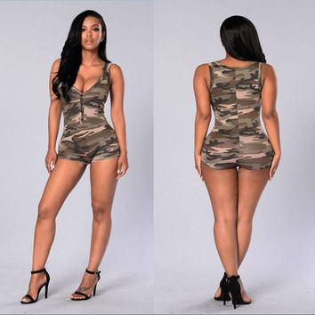 2016 Playsuit Summer Women Bodysuit Rompers Womens Jumpsuit Deep V-Neck Printed Army Green Sexy Bodycon Jumpsuits Overalls