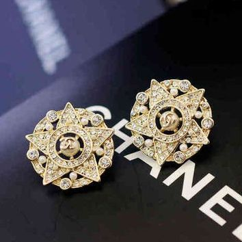 Chanel Woman Fashion CC Logo Diamonds Stud Earring Jewelry