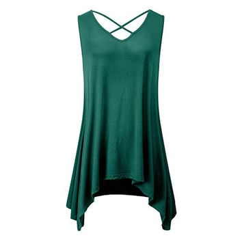 Women's Cross V Neck Tank Tops Summer Flowy Sleeveless Tunic