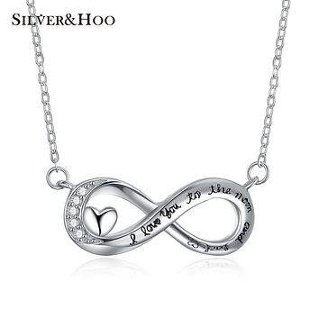 SILVERHOO 925 Sterling Silver Pendant Necklace I Love You To The Moon And Back Series Xmas Valentine Gift Women's Jewelry