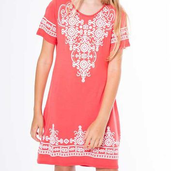 Pomelo Clothing Embroidered Dress for Girls in Coral PDK4194-LIGHTCORAL