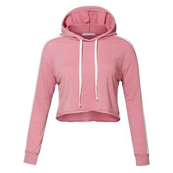 LE3NO Womens Lightweight Pullover Sweatshirt Crop Top Hoodie with Sleeve Line